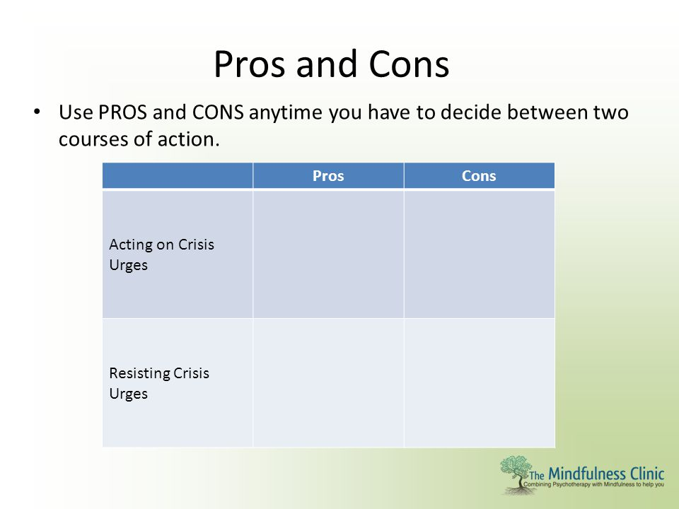 Pros and Cons Use PROS and CONS anytime you have to decide between two courses of action. Pros. Cons.
