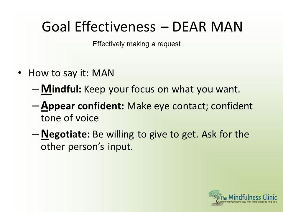 Goal Effectiveness – DEAR MAN