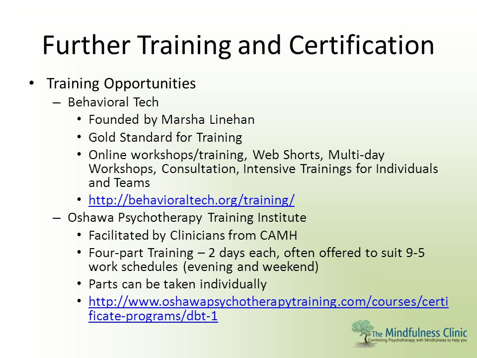 Further Training and Certification