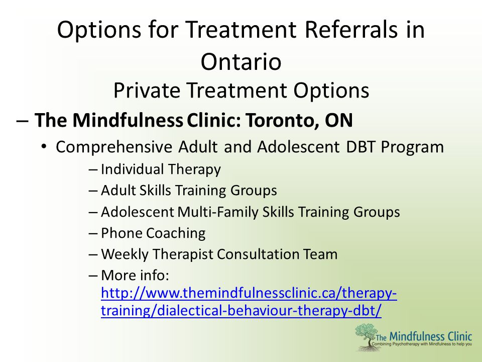 Options for Treatment Referrals in Ontario