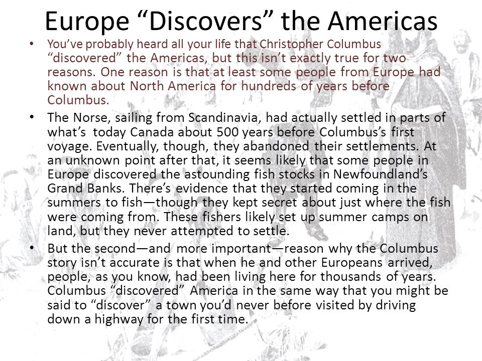 Europe Discovers the Americas