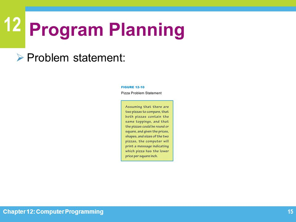 Program Planning Problem statement: Chapter 12: Computer Programming