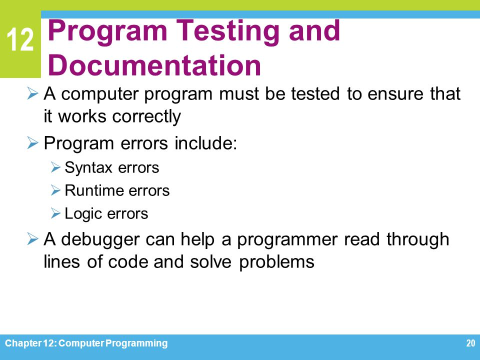 Program Testing and Documentation