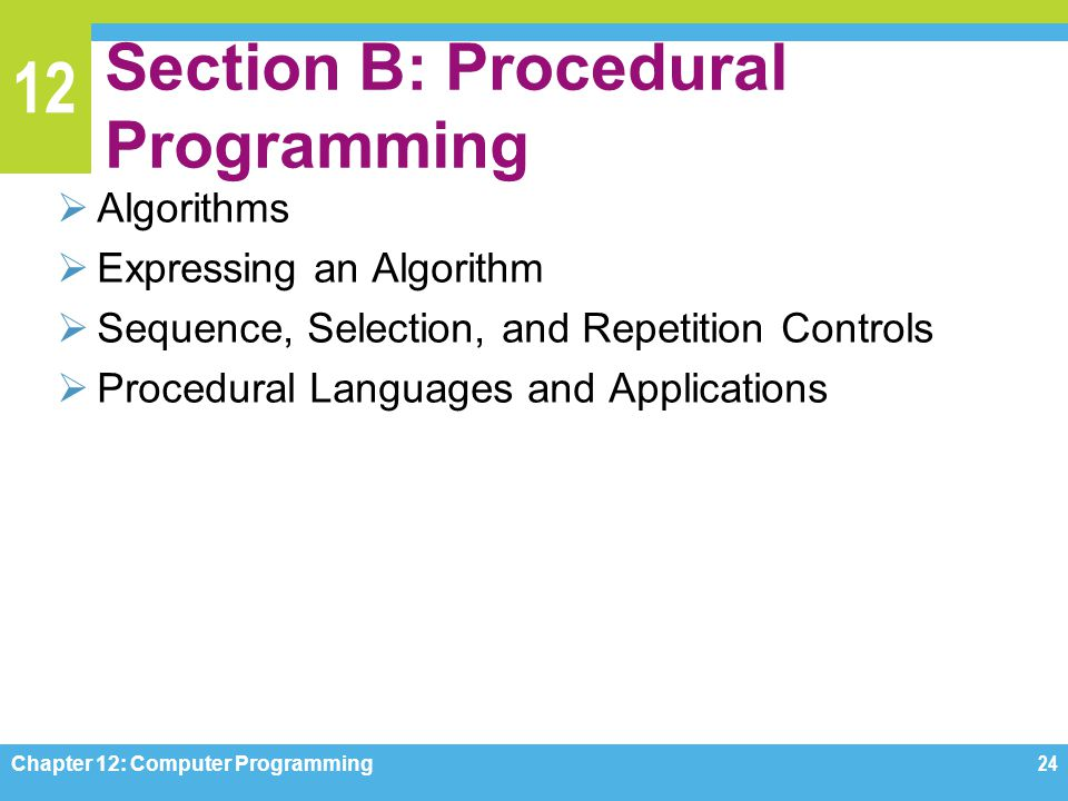 Section B: Procedural Programming