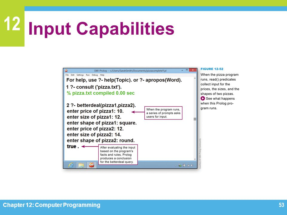 Input Capabilities Figure 12-52 Chapter 12: Computer Programming