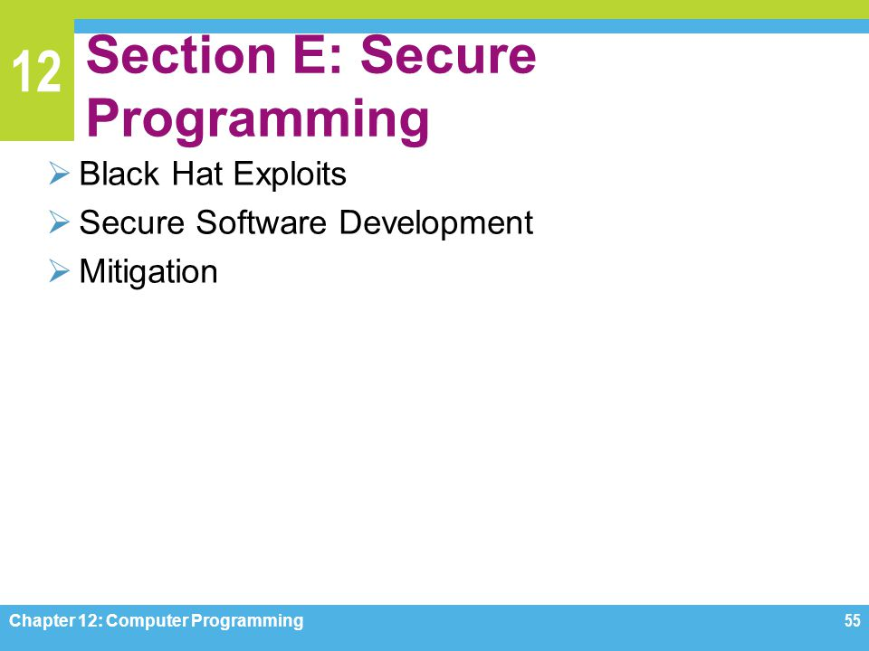 Section E: Secure Programming
