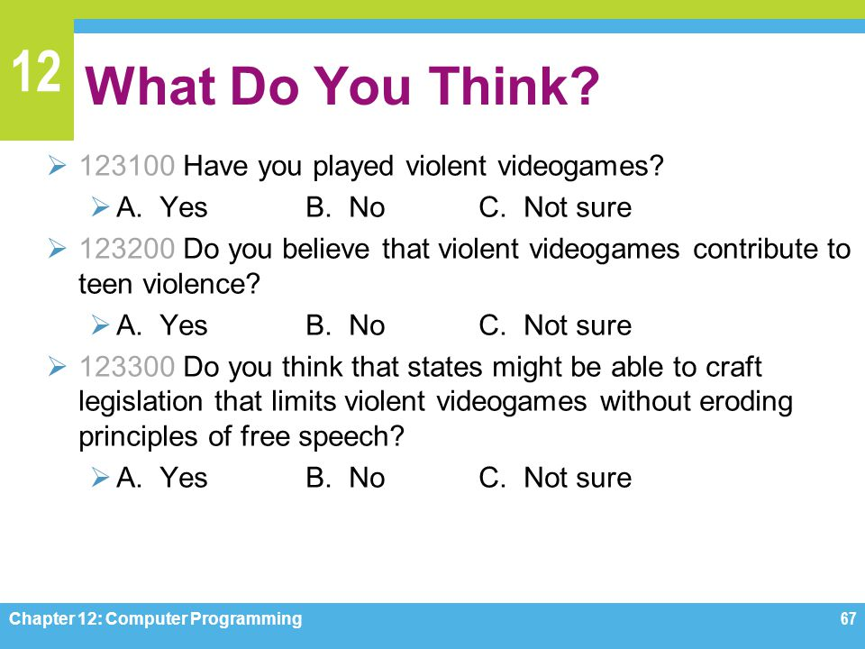 What Do You Think 123100 Have you played violent videogames