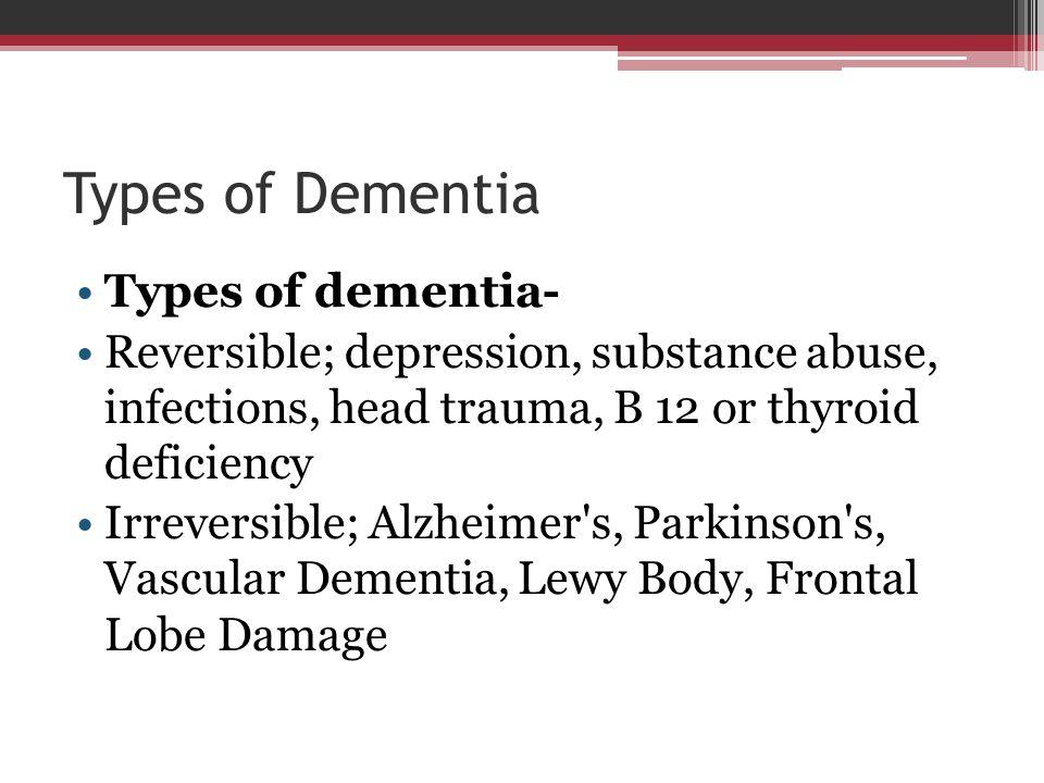 Types of Dementia Types of dementia-