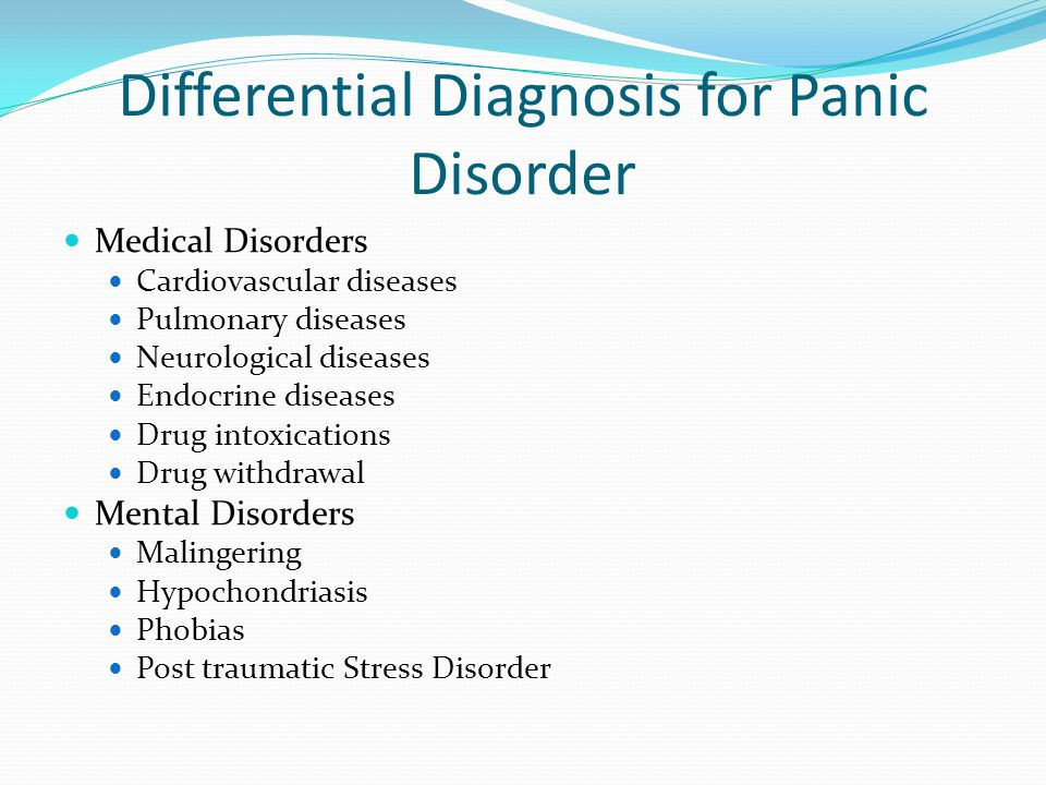 Differential Diagnosis for Panic Disorder