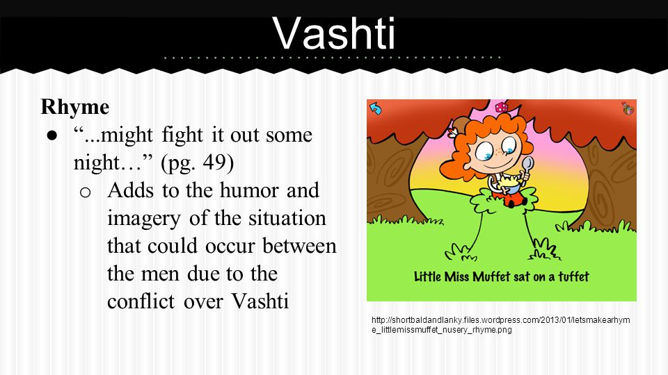 Vashti (Cont.) Diction ...threw her over for a yellow gal… (pg. 50)