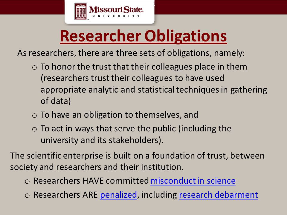 Researcher Obligations