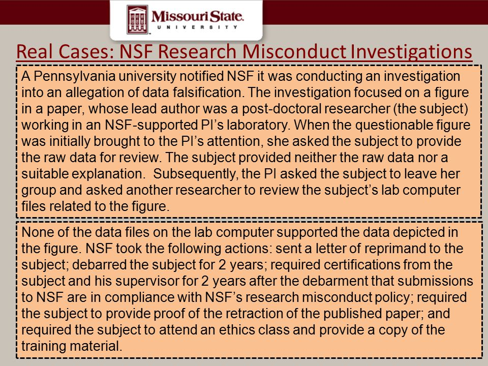 Real Cases: NSF Research Misconduct Investigations