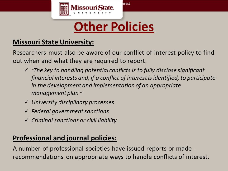Other Policies Missouri State University: