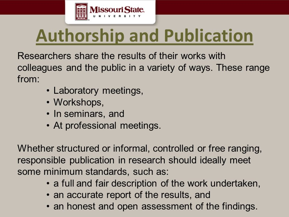 Authorship and Publication