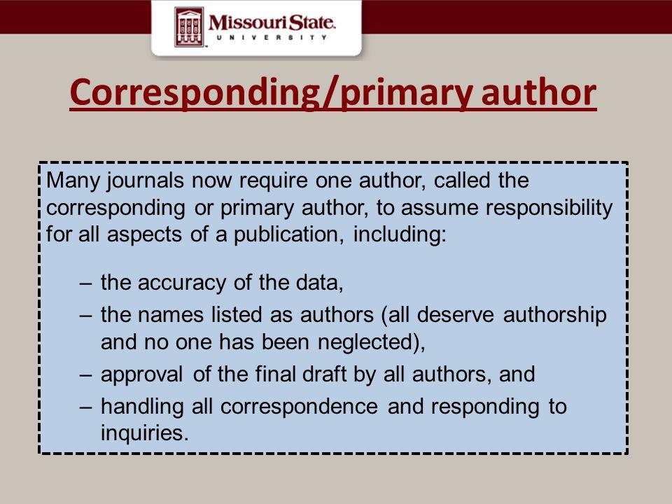 Corresponding/primary author