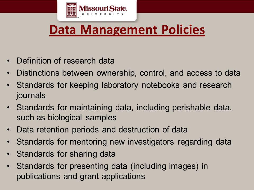 Data Management Policies