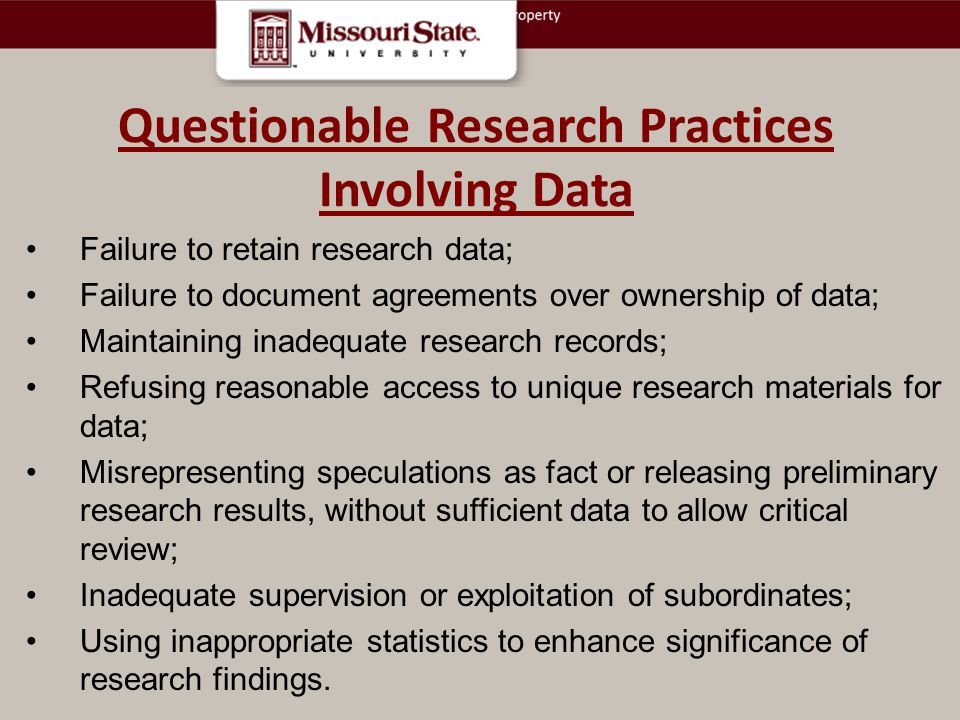 Questionable Research Practices Involving Data