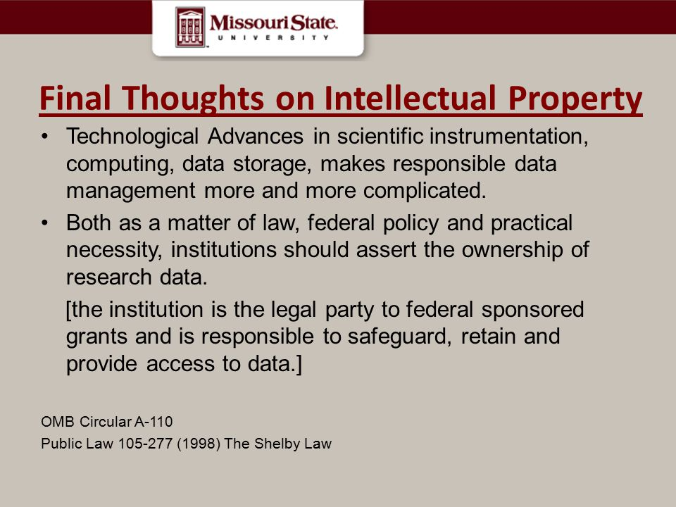 Final Thoughts on Intellectual Property