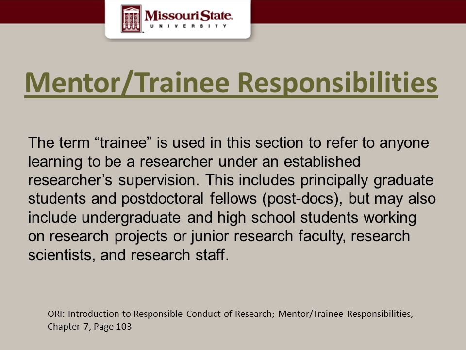 Mentor/Trainee Responsibilities