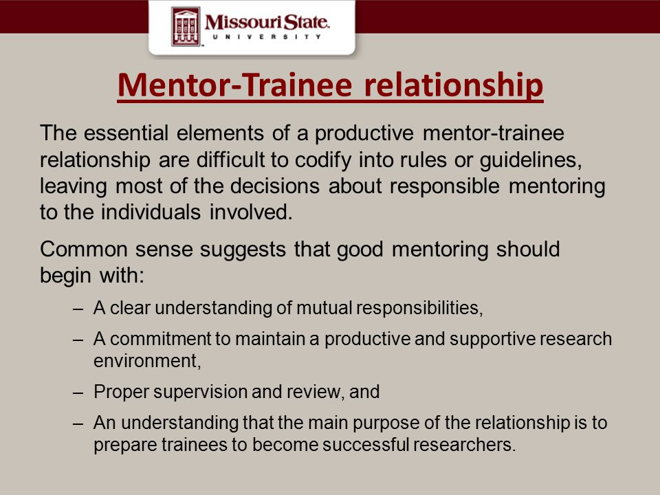 Mentor-Trainee relationship