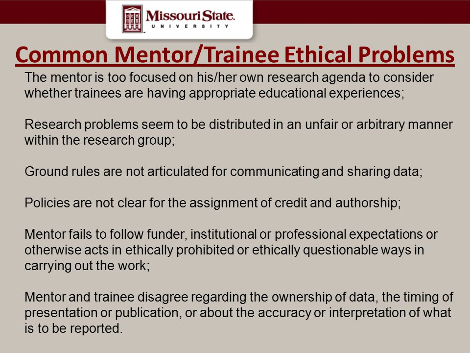 Common Mentor/Trainee Ethical Problems
