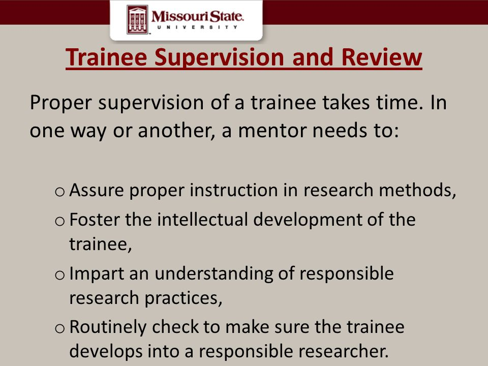 Trainee Supervision and Review