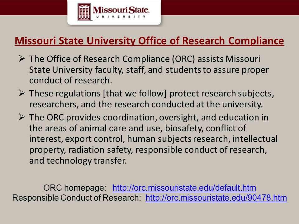 Missouri State University Office of Research Compliance