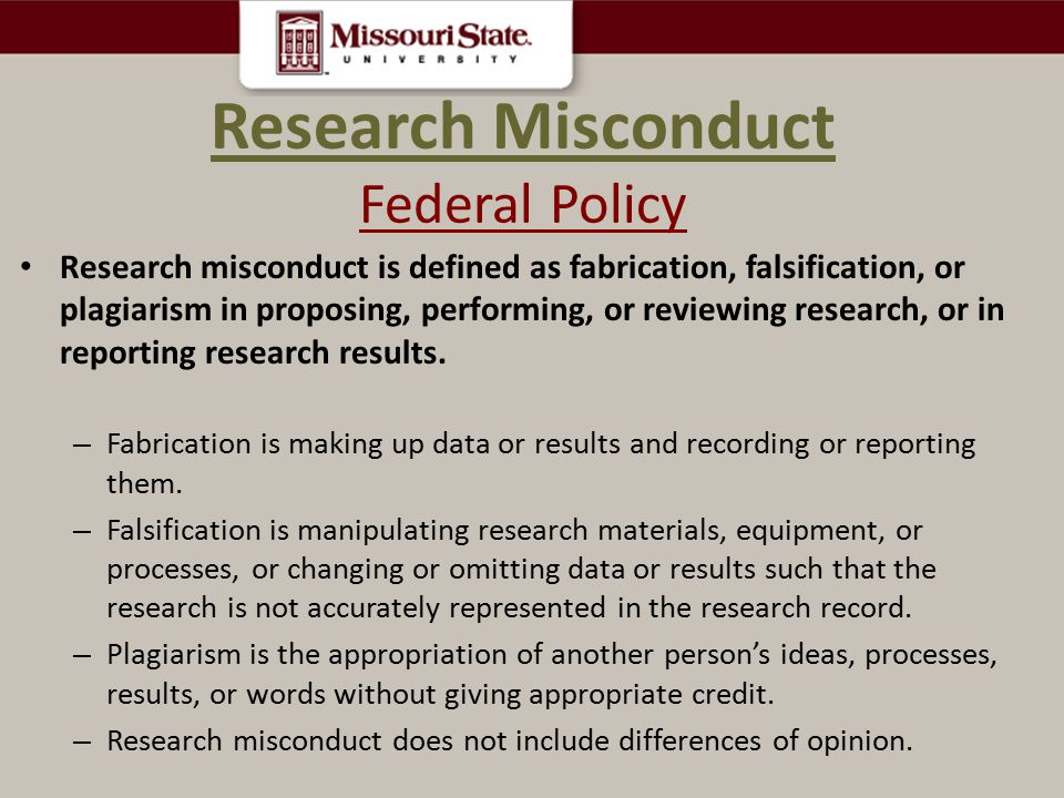 Research Misconduct Federal Policy
