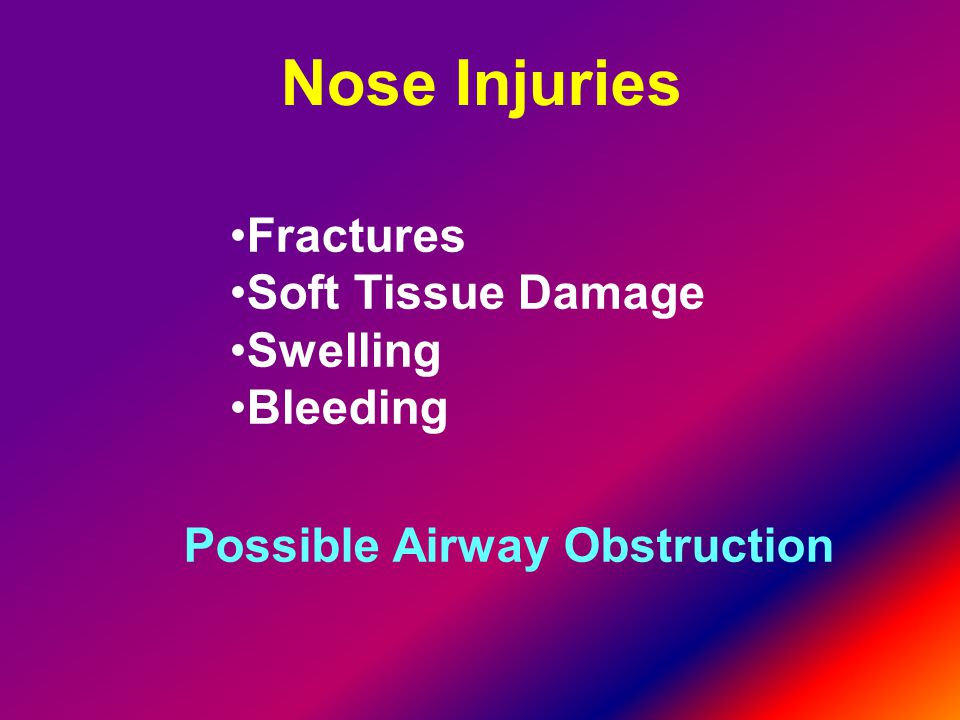 Nose Injuries Fractures Soft Tissue Damage Swelling Bleeding