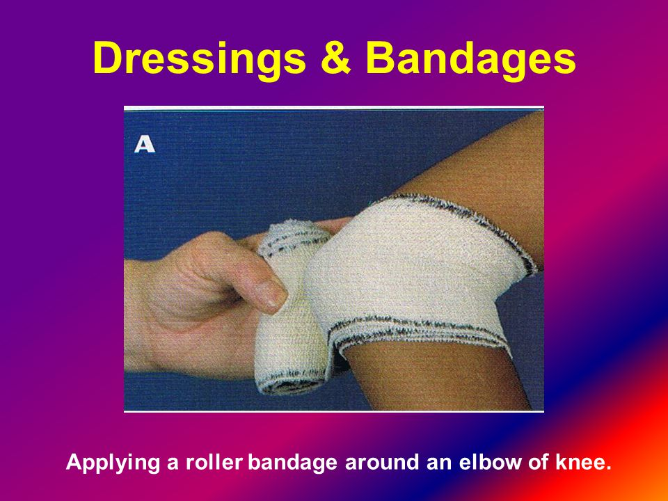 Applying a roller bandage around an elbow of knee.
