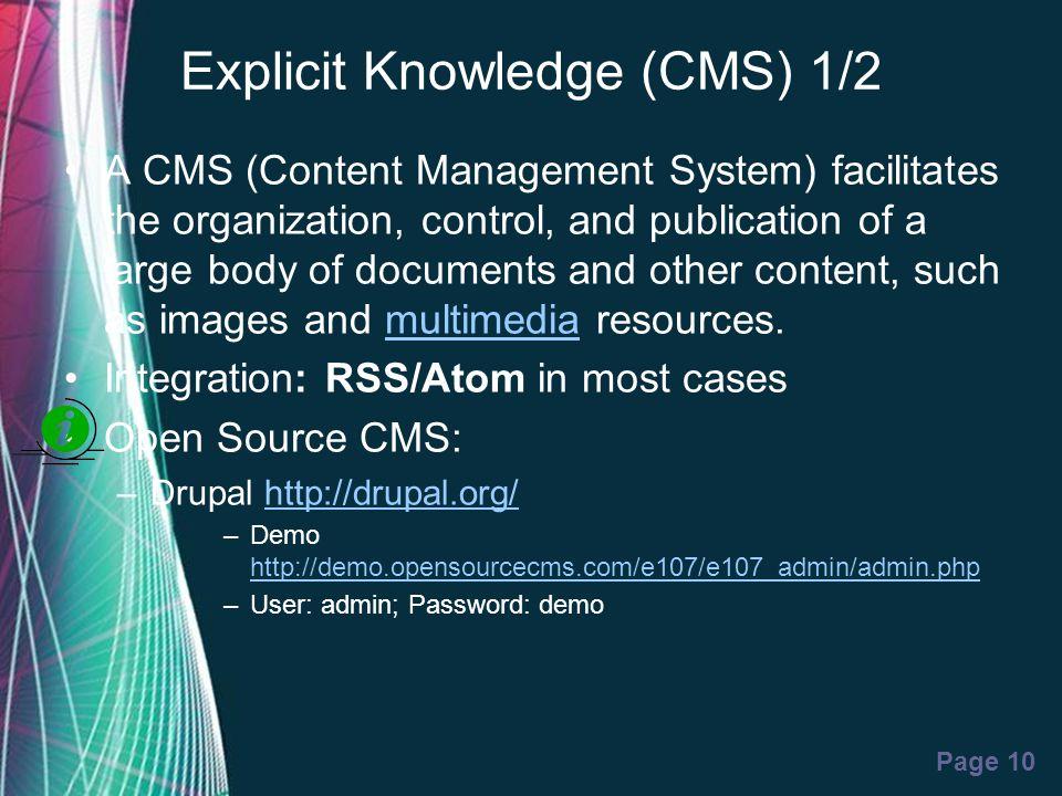 Explicit Knowledge (CMS) 1/2