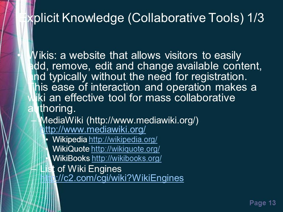 Explicit Knowledge (Collaborative Tools) 1/3