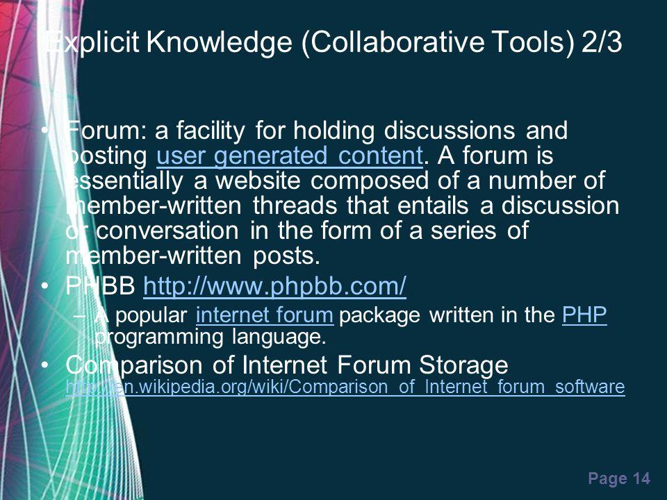 Explicit Knowledge (Collaborative Tools) 2/3