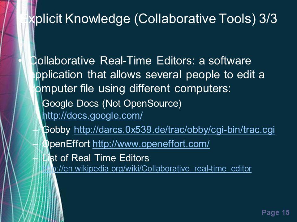 Explicit Knowledge (Collaborative Tools) 3/3