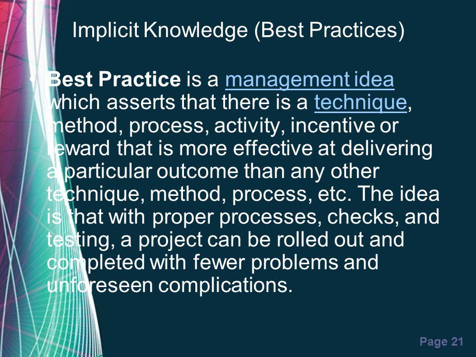 Implicit Knowledge (Best Practices)