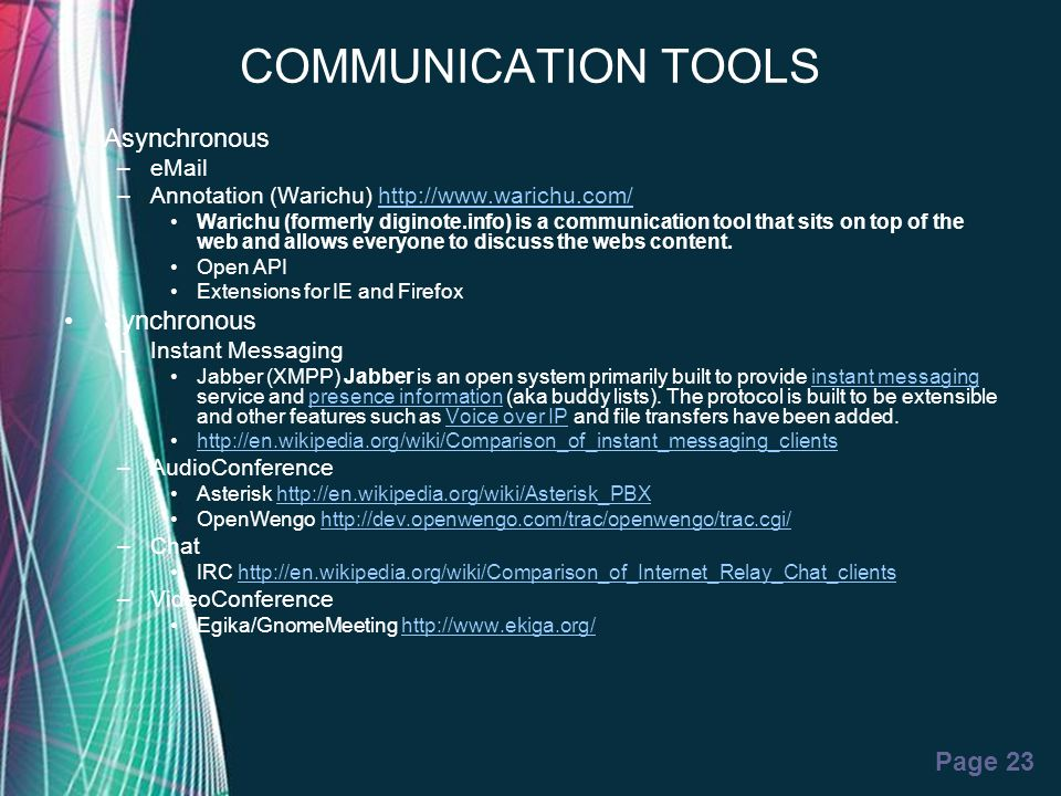 COMMUNICATION TOOLS Asynchronous Synchronous eMail