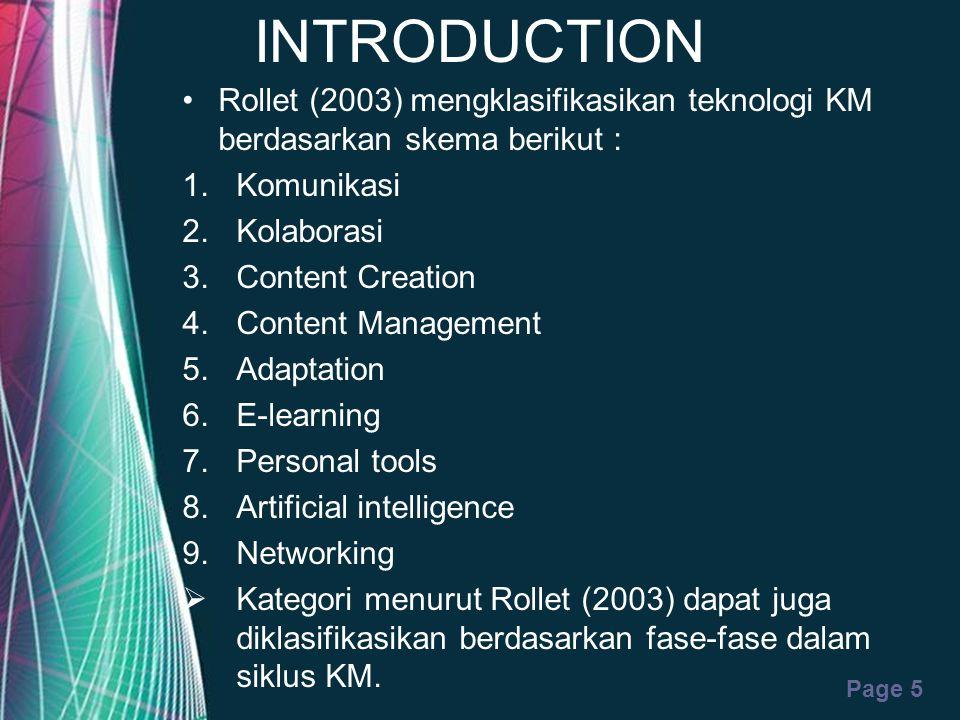 INTRODUCTION Rollet (2003) mengklasifikasikan teknologi KM berdasarkan skema berikut : Komunikasi.