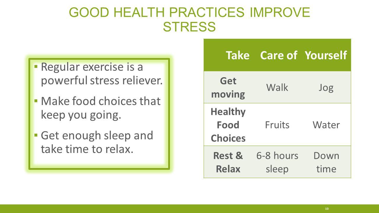 good health practices improve Stress