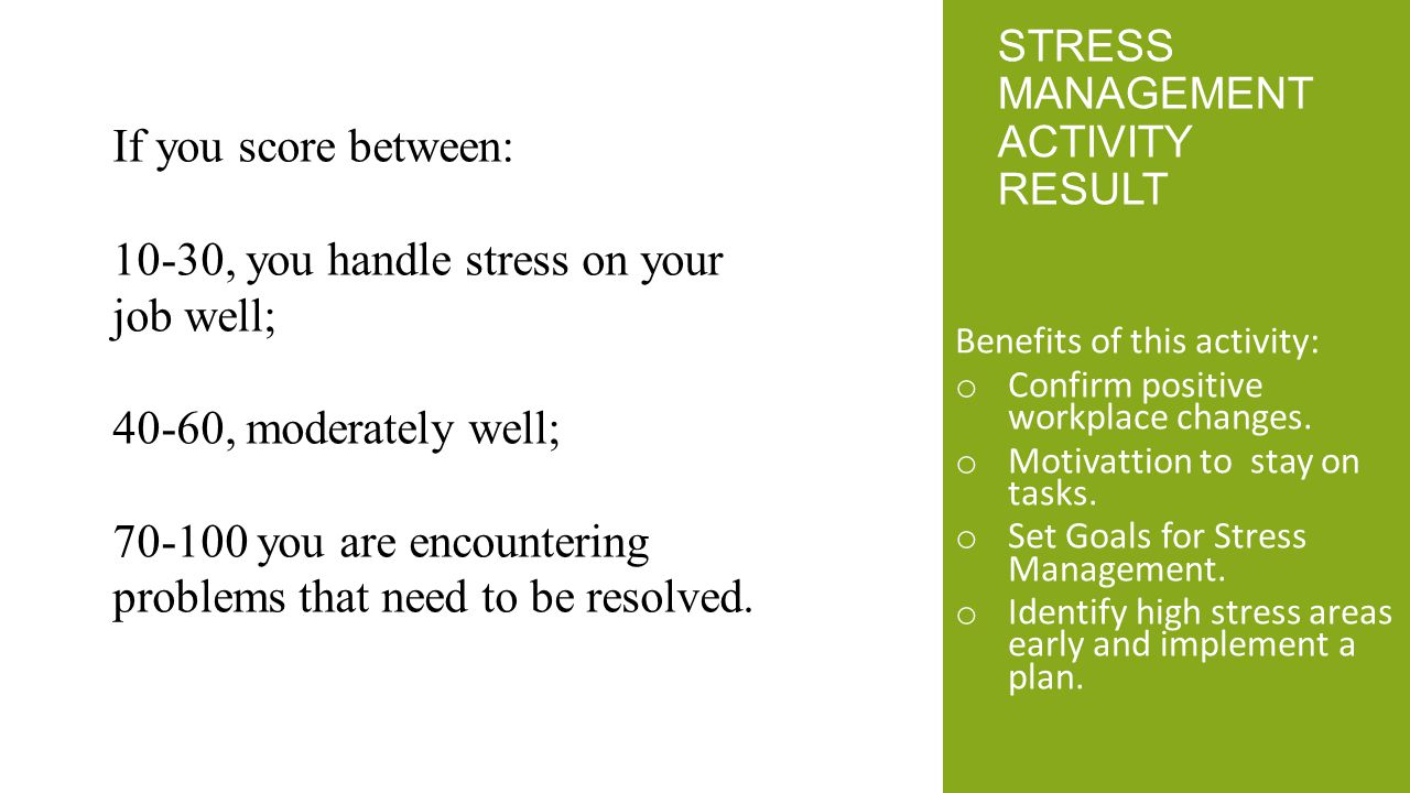 Stress management Activity Result