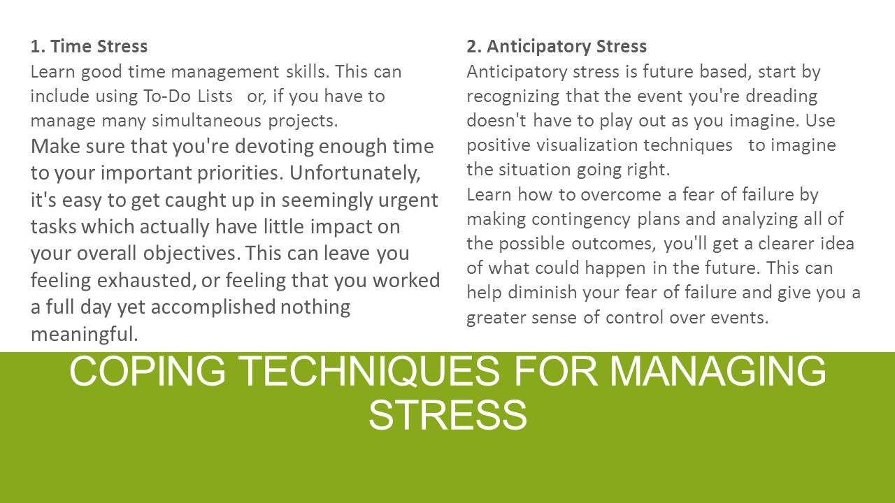Coping techniques for managing stress