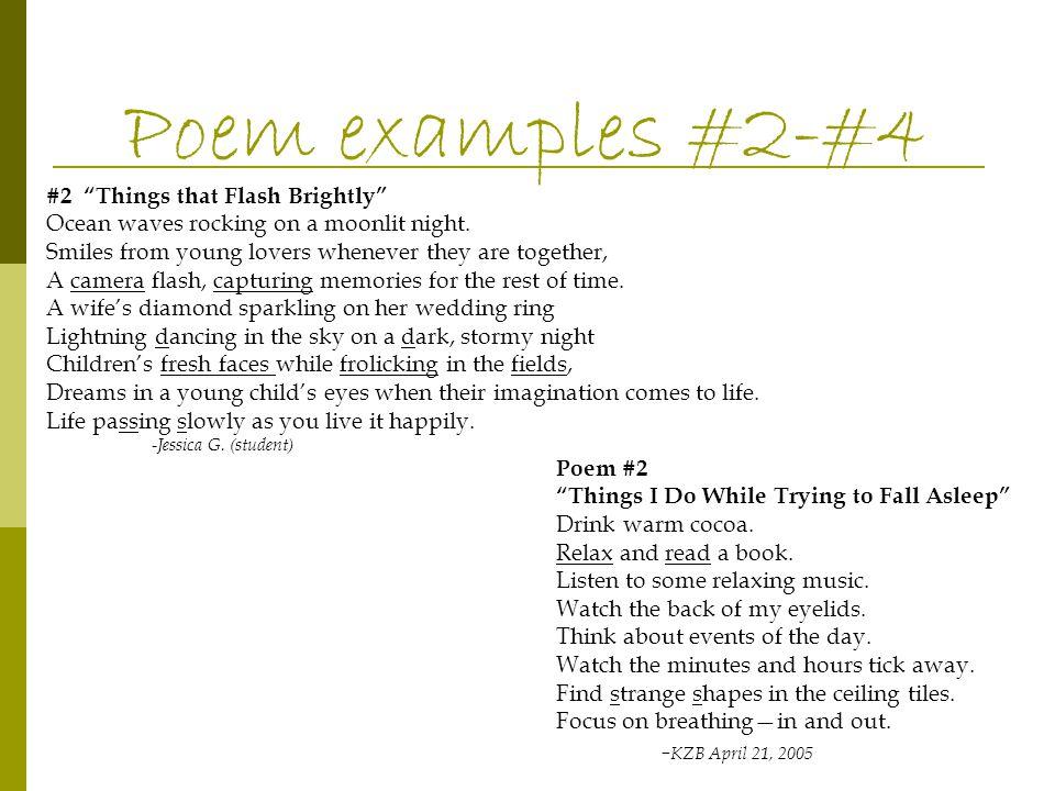 Poem examples #2-#4 -KZB April 21, 2005