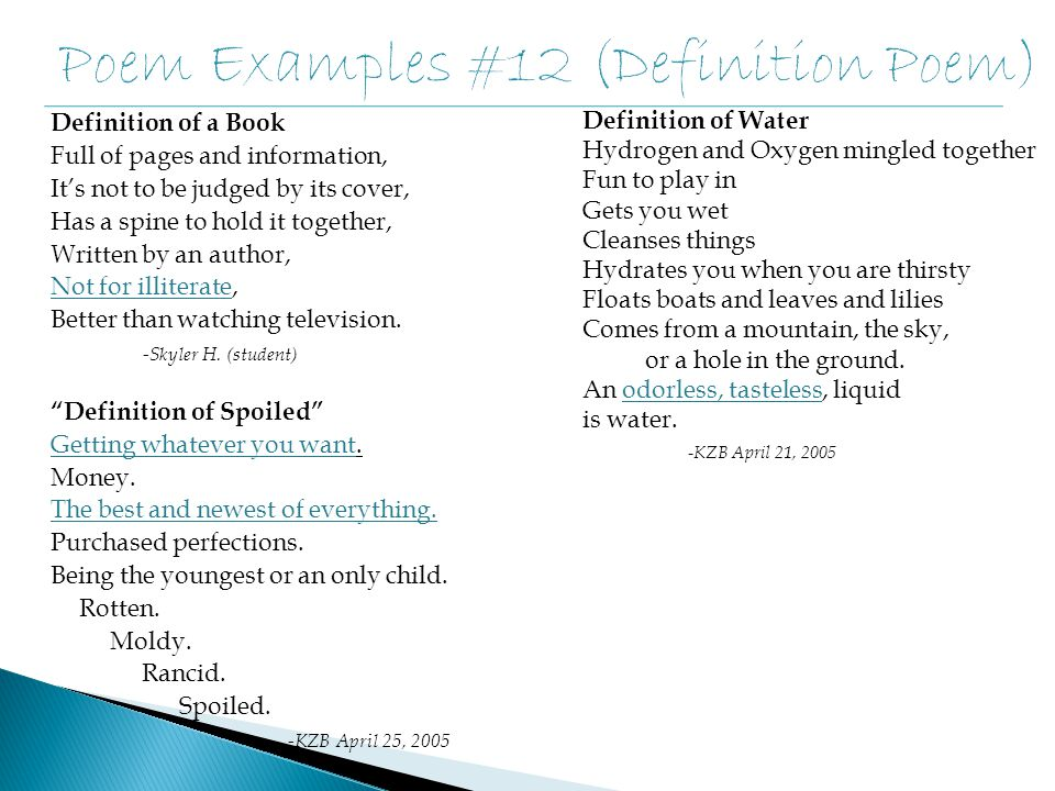 Poem Examples #12 (Definition Poem)