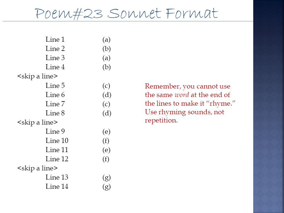 Poem#23 Sonnet Format