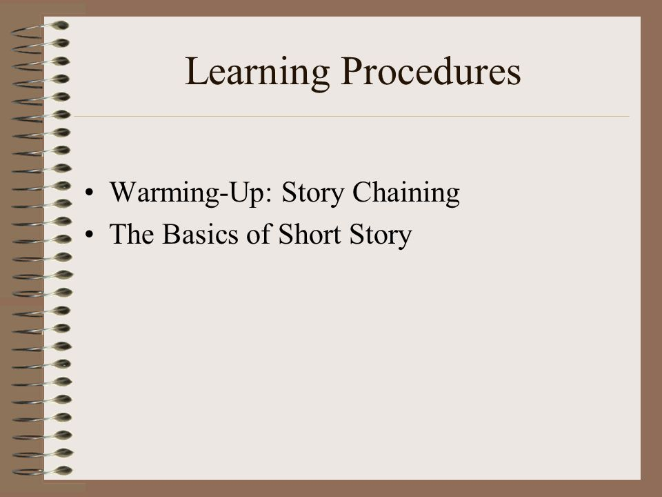 Learning Procedures Warming-Up: Story Chaining