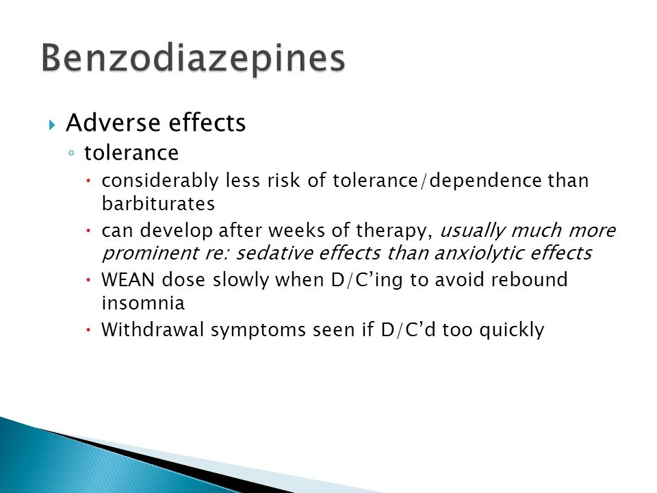 Benzodiazepines Adverse effects tolerance