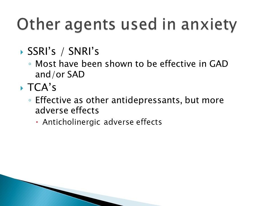 Other agents used in anxiety