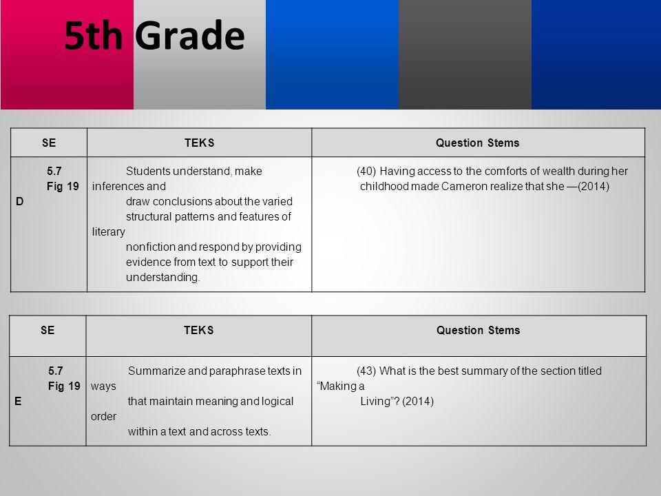 5th Grade SE TEKS Question Stems 5.7 Fig 19 D