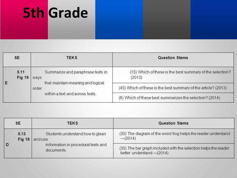 5th Grade SE TEKS Question Stems 5.11 Fig 19 E