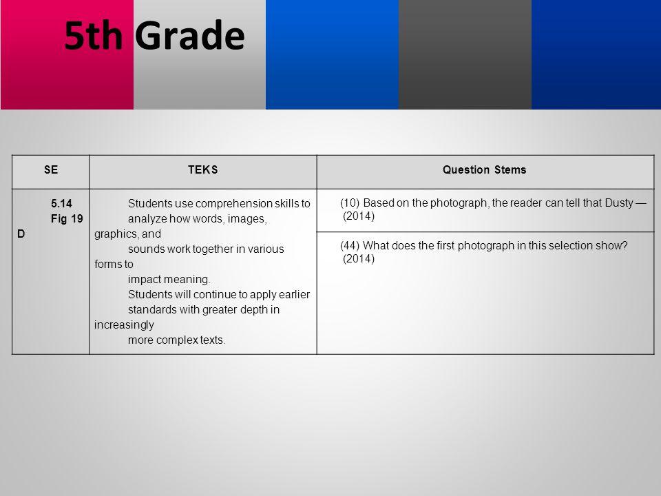 5th Grade SE TEKS Question Stems 5.14 Fig 19 D