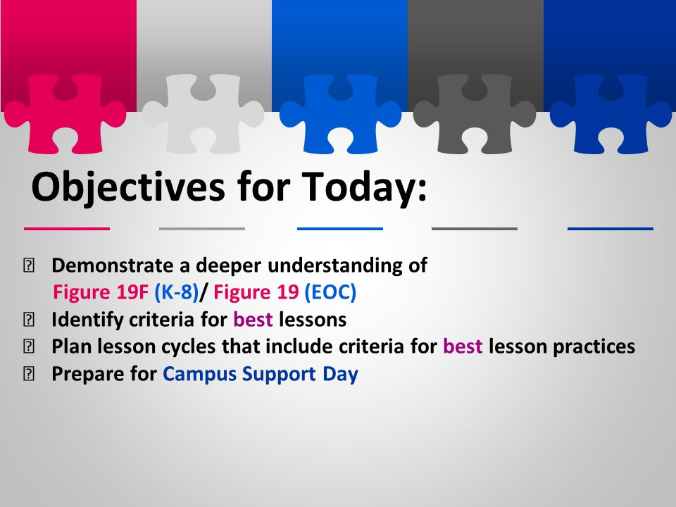 Objectives for Today: Demonstrate a deeper understanding of